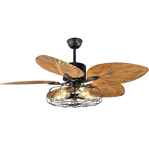 TMY Mediterranean Fan Light European-Style Retro Living Room Remote Control Ceiling Fans Restaurant Living Room Light E27 (Size : 52 inches)