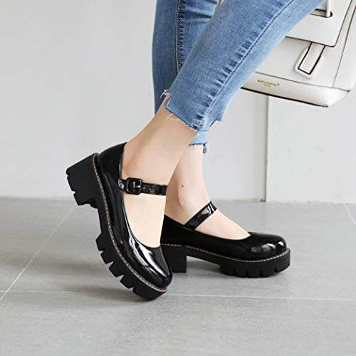 Details about  /Women Leather OL Ankle Strap Mary Jane Chunky Heel Pumps Dance Buckle Shoes