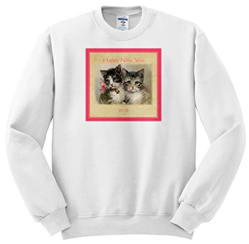 3dRose New Year Designs - Image Of Vintage Style 2018 Happy New Year Kittens - Sweatshirts - Youth Sweatshirt Small(6-8) - Vintage Year New Images Happy