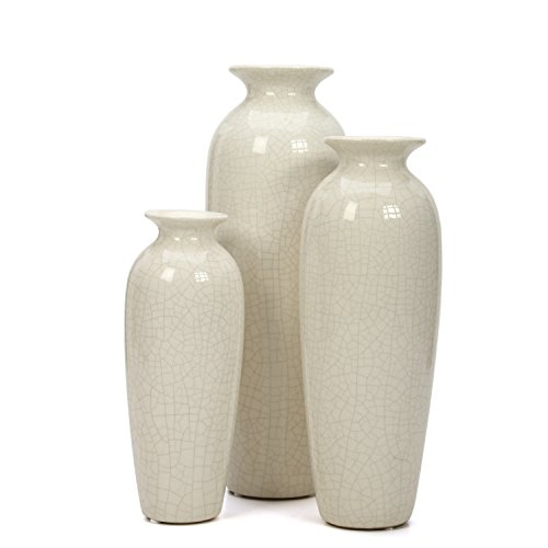 Large Product Image of Hosley Set of 3 Crackle Ivory Ceramic Vases in Gift Box. Ideal Gift for Wedding or Special Occasions; for Use in Home Office, Decor, Floor Vases, Spa, Aromatherapy Settings O3