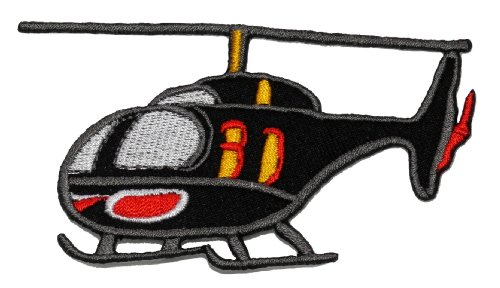 Helicopter Patch - Black Helicopter DIY Applique Embroidered Sew Iron on Patch HCT-004