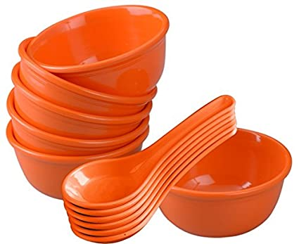 Servewell Urmi Soup Bowl with Spoon Set, Orange, 12-Pieces Bowls at amazon