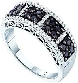 14kt White Gold Womens Round Black Colored Diamond Symmetrical Band 1/2 Cttw