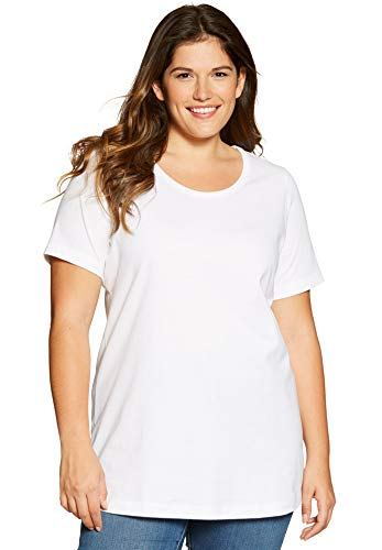(Woman Within Women's Plus Size Perfect Scoop Neck Tee - White,)
