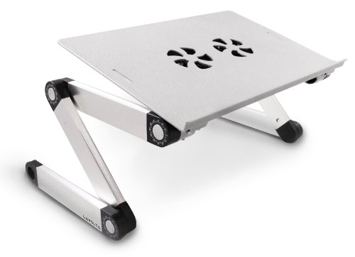 Lavolta Adjustable Vented Laptop Table Aluminium Notebook Desk Portable Stand Tray with Mouse Board and CPU Fan Cooling Pad - Silver (Laptop Stand Cooling compare prices)