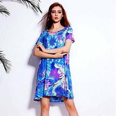 PU&PU Robe Aux femmes Ample Vintage / simple,Fleur Col Arrondi Au dessus du genou Polyester , blue , 2xl