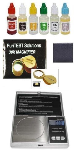 Treasure Hunters Purity Test Kit PuriTEST Gold Silver Test DigiWeigh Coin Scale Magnifying Glass and More