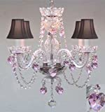 CRYSTAL CHANDELIER LIGHTING WITH BLACK SHADES & PINK CRYSTAL HEARTS! - PERFECT FOR KID'S AND GIRLS BEDROOM!