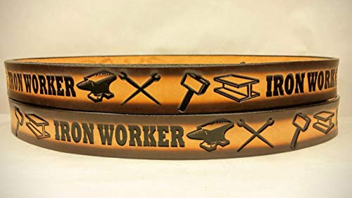 Leather Belts Embossed Iron Worker Design 1 1/2