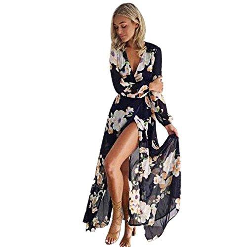 Price comparison product image Women Long Maxi Dress, Mosunx(TM) Ladies Floral Print Long Sleeve Boho Long Dress (L, Black)