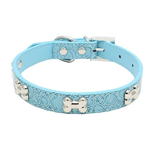 (Wouke Pet Dog Collar Studded Leather Adjustable Harnesses Metal Bone Buckle Neck Strap Collars for Dog Cat)