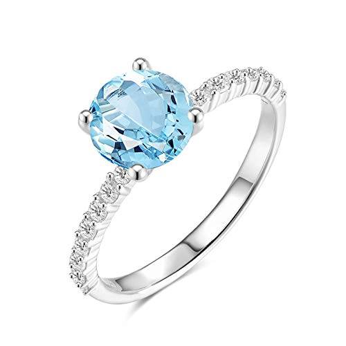 (KnSam Sterling Silver Jewelry Ring for Women Fashion Round Cut Natural Topaz Dia.7MM Size 5.5)