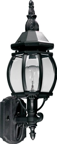 Quorum 7989-1-15 Croix - One Light Outdoor Wall Lantern, Black Finish with Clear Glass ()