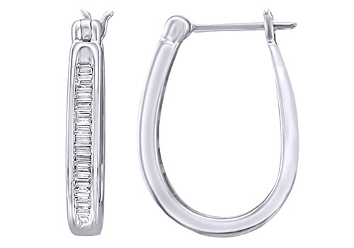White Natural Baguette Cut Diamond Hoop Earrings In 14K Solid Gold (0.33 Ct) - Baguette Hoop Diamond 14k Gold