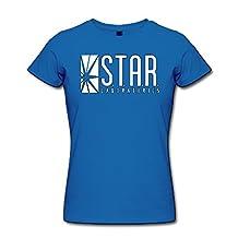 ABC'N Women's Star Labs Logo 100% Cotton T-Shirt RoyalBlue X-Large
