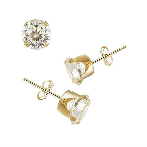 beac237420bd6 14K Yellow Gold Stud Earring Aprx .24 Carat Total Weight, 3mm Each Round  Simulated Diamond Earring. Set on Stamping Setting & Friction Style Post