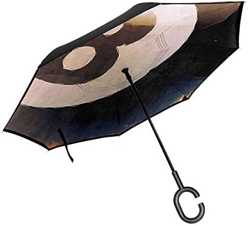 クールビリヤードプールスヌーカーボール ユニセックス二重層防水ストレート傘車逆折りたたみ傘C形ハンドル付き