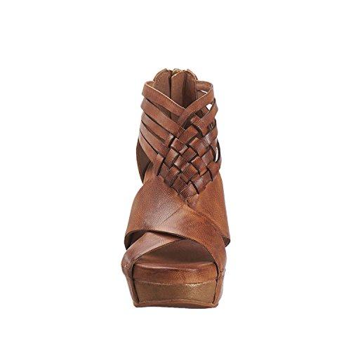 Antilop Kvinna 952 Läder Vävda Ankelband Sandaler Taupe