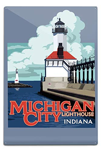 Lantern Press Indiana - Michigan City Lighthouse - Contour 97088 (12x18 Aluminum Wall Sign, Metal Wall Decor Ready to Hang) (Michigan City Lighthouse)