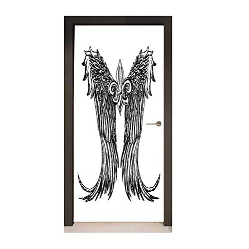 Homesonne Medieval 3D Door Decal Tribal Wing Design Magic Spell Middle Ages Symbol of Power Artistic Design for Office Decoration Black and White,W23.6xH78.7