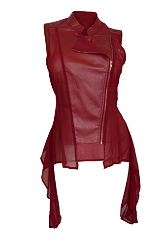 Leather Red Shirt - eVogues Women's Sleeveless Sheer and Faux Leather Panel Fashion Vest Jacket Wine - 1X
