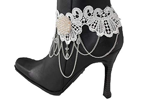 Women Fashion Boot Chain Bracelet Metal White Lace Fabric Bead Flower Shoe Charm #ID-1618