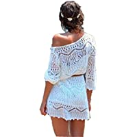(Delivery from US)Women Dress,Haoricu Summer Sexy Hollow Out White Lace Beach Women Dress With Belt