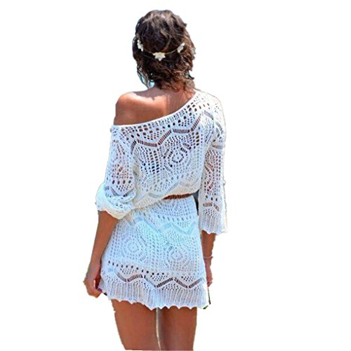 - haoricu Women Dress, Summer Sexy Hollow Out White Lace Beach Women Dress with Belt (S, White)