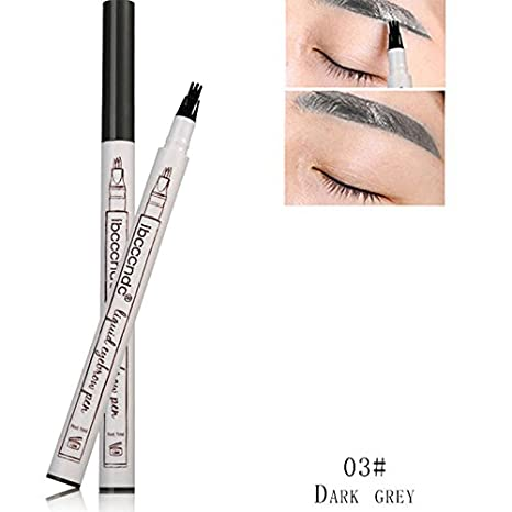ZeHui Eyebrow Pencil Unique 3 Fork Tip Head Waterproof Natural Long-lasting Non Staining Brows Pen 3#