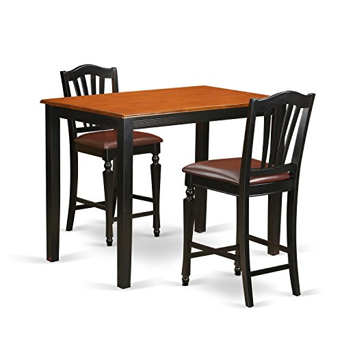 East West Furniture YACH3-BLK-LC 3 Piece Dining Table and 2 Counter Height Stool Set