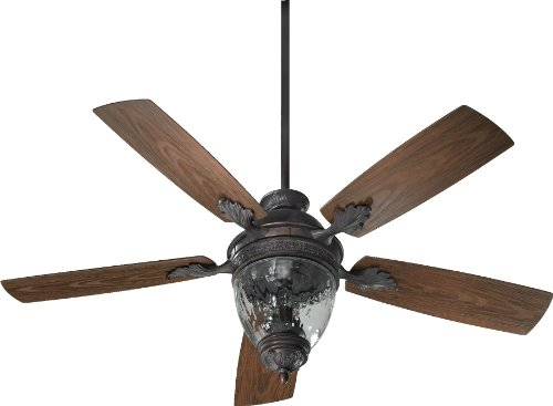 Quorum International 174525-944 Georgia 3-Light Patio Ceiling Fan with Clear Hammered Glass and Walnut ABS Blades, 52-Inch, Toasted Sienna Finish (Sienna Patio Toasted Fan)
