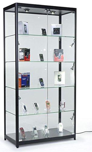 Displays2go Black LED Trophy Showcase, Locking, LED Lighting, Tempered Glass, Laminated MDF & Aluminum – Black (LESC10478B) by Displays2go