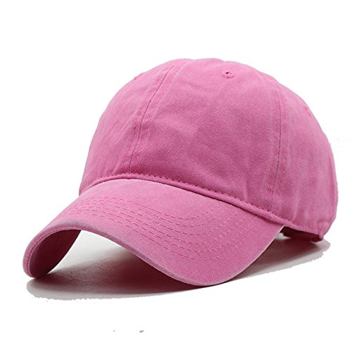 (G4S3 Unisex Solid Classic Cotton Adjustable Washed Twill Low Profile Plain Baseball Cap Sport Hat (Rose red))