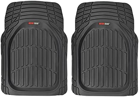 Motor Trend -2 Piece Front Car Floor Mats- Black FlexTough Contour Liners-Deep Dish Heavy Duty Rubber Floor Mats for Car SUV Truck & Van-All Weather Protection, Universal Trim to Fit