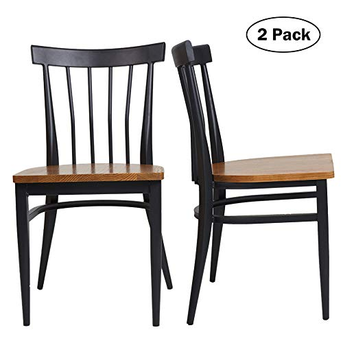 Set of 2 Dining Side Chairs - Natural Wood Seat and Sturdy Iron Frame Simple Kitchen Restaurant Chairs for Dining Room Cafe Bistro, Ergonomic Design,Comb Back