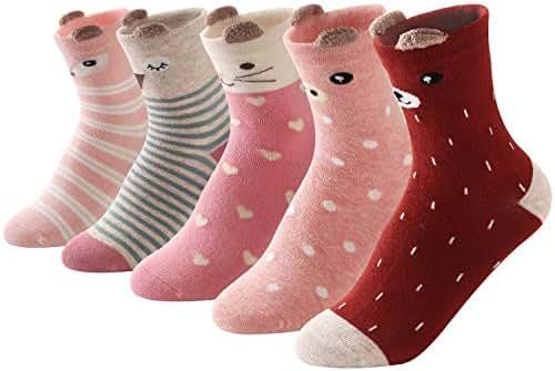 SUNBVE Baby Toddler Little Big Kids Girls Cute Cotton Crew Socks