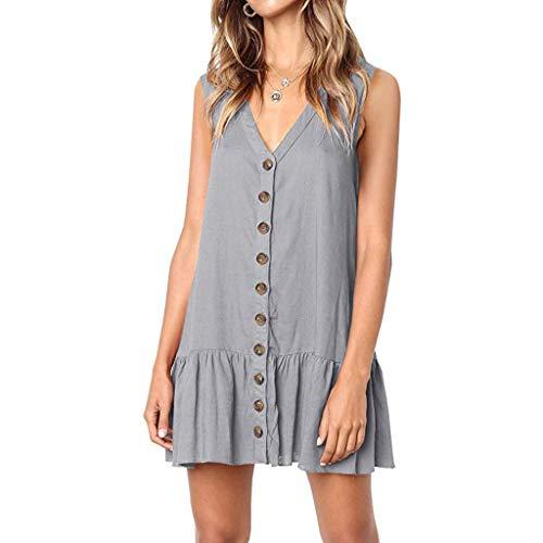 s V Neck Button Dress Sleeveless Party Dress Ruffle Beach Dress Office Work Skirts Dress Gray ()