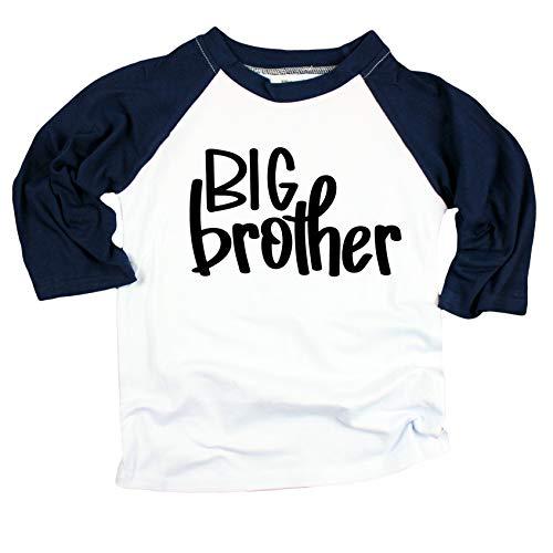 Big Brother Announcement Shirt for Boys Big Brother Shirt for Toddler boy Navy 3/4 Sleeve Raglan