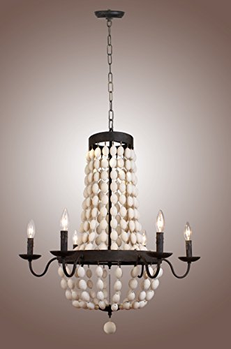 Deluxe Lamp 6 Vintage Iron Frame Hardware Wood Wooden Beads Chandelier