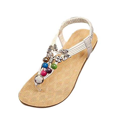 Chaussures Orteil Été Femmes Blanc Sandales Chaussons Filles Clip Perlé Bohémien Style Minetom qa68wFY8x