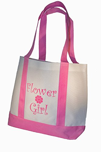 Yacanna Flower Girl Tote Bag White with Pink Straps, Large 14-inch by 11-inch