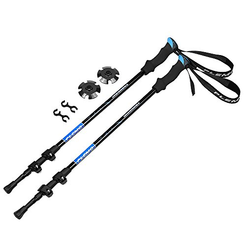 Plemo 2 Pack Anti-shock Trekking / Walking / Hiking Trail Poles with EVA Foam Grip, Quick Lock and Tungsten Steel Spike Tip for Men and Women, 26.8'' to 53'' (Blue) by Plemo