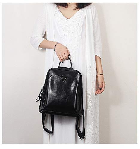 Wax Oil Fashion Zaino Hjly Retro Leather Black Borsa Lady Leather xwtg5q5CE