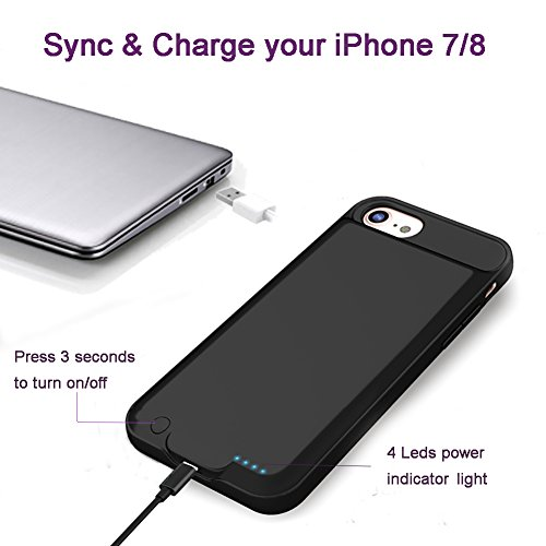 iPhone 7 sensible Battery CaseSupport Lightning to Lightning Earphone Microphone extra slim moveable cel power3000mAh Charging situation for iPhone 747 inchExtended Battery Pack power Bank Cover External Battery Packs