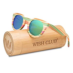 WISH CLUB Polarized Rainbow Wood Beach Round Sunglasses for Women mirrored Lenses Wooden Bamboo Sun Glasses for Girls Oval Colorful UV 400 Retro Lightweight Eyewear (Green)