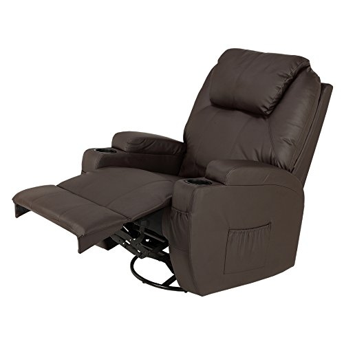 Homegear Recliner Chair with 8 Point Electric Massage and Heat (Brown) (Sale For Armchairs Leather Small)