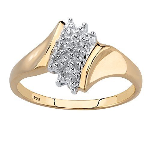 White Diamond Accent 18k Gold over .925 Sterling Silver Cluster Ring Size 8