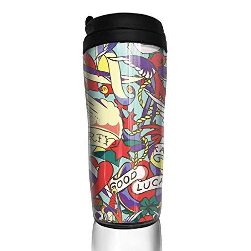 HEHE TAN Old School Tattoo Pattern Tumbler Cup Design Milk Coffee Cup Plastic Travel Mug12 Oz 350 Ml