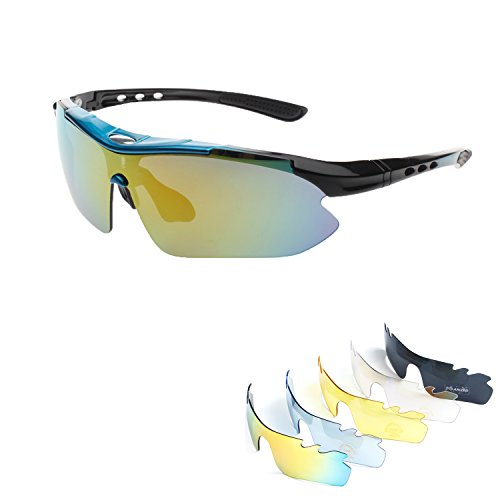 Polarized Sports Sunglasses for Men Women Cycling Running Driving Fishing Golf Baseball with Tr90 Unbreakable Frame,5 Interchangeable Lenses … (Blue - Cycling For Glasses