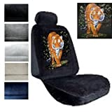 Seat Cover Connection Tiger in Bush print 2 Low Back Bucket Car Truck SUV Seat Covers with 2 Head Rest Covers - Charcoal Grey